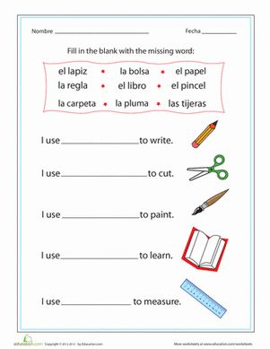Printables Middle School Spanish Worksheets worksheets spanish and school supplies on pinterest for middle gif