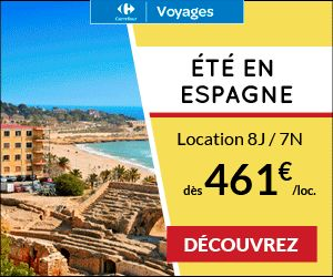 Carrefour Voyages promo location, réservez votre location vacances Espagne pas cher Carrefour Voyages à partir de 461.00 € TTC 8j/7n. Envie de soleil cet été découvrez une sélection de location en camping en Espagne à petits prix