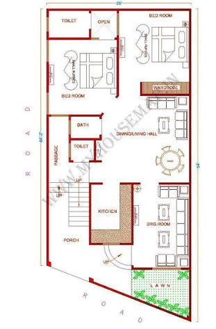 2 Bhk Floor Plans Of 25 45 Google Search House Map Home Map Design House Floor Plans