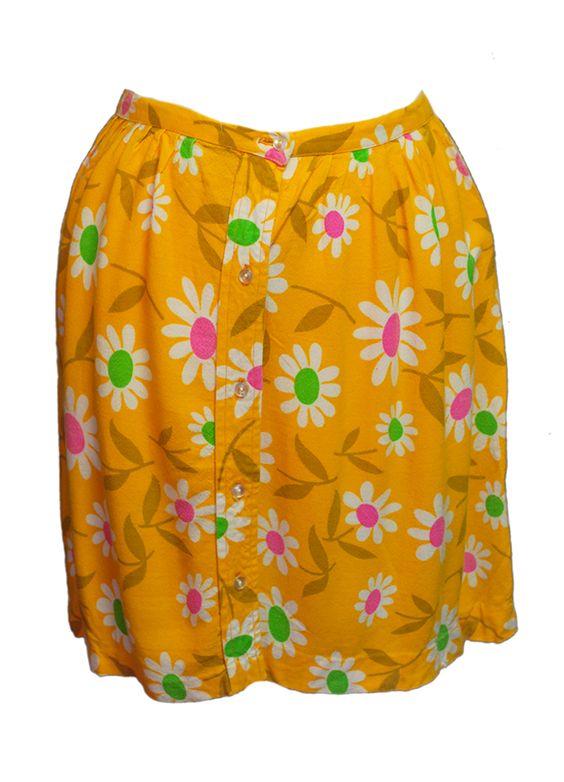 1960s Vintage Bright Daisy Flower Power Summer Skirt Size 8/10