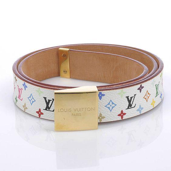 Authentic Louis Vuitton White Multicolore Square Buckle ...