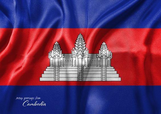 Kambodische Flagge | Urlaubsgrüße | Echte Postkarten online versenden…