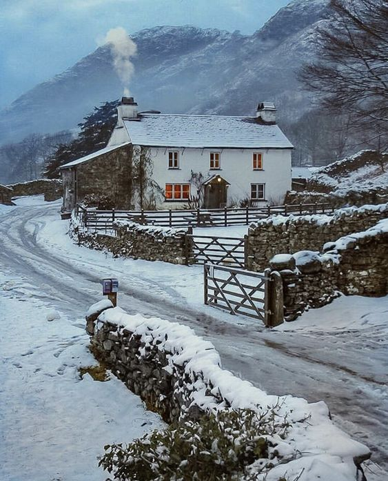 Yew Tree Farm near Coniston in the Lake District #lakedistrict #cotswolds #england #winter #cottage #snow