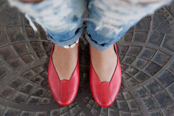 Summer Sale 20% Off Rose Leather Ballerina Shoes by BangiShop