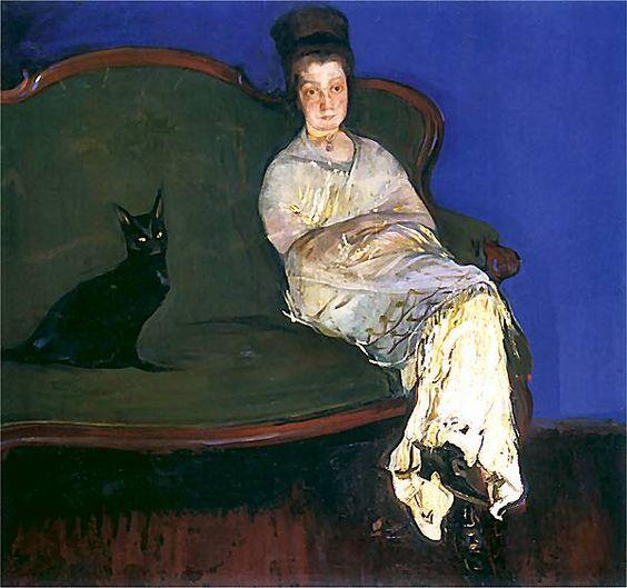 Zona z Kotem (painter's wife with a cat) by Konrad Krzyzanowski