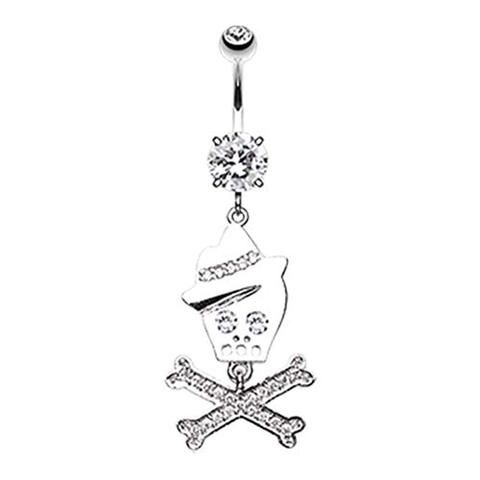 Or Rose Brillant Coeur Sparkle Belly Button Ring Clear 14 g