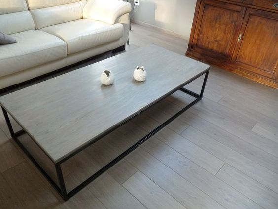 La table basse repeinte vieillisseur bois aspect bois - Table basse bois flotte ...