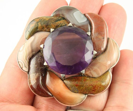 Superb huge Antique Victorian silver c 1890 Scottish agate amethyst brooch pin