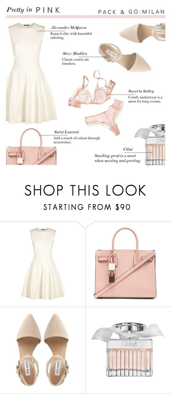 """Pretty in Pink - Pack and Go : Milan"" by rachaelselina ❤ liked on Polyvore featuring Alexander McQueen, Yves Saint Laurent, Steve Madden and Chloé"