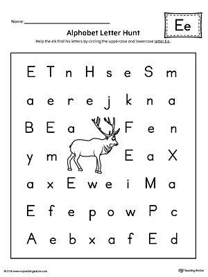 alphabet letter hunt letter e worksheet activities alphabet letters and student. Black Bedroom Furniture Sets. Home Design Ideas