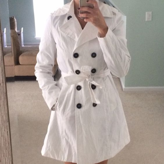 White Trench Coat Beautiful lightweight lined white Express trench ...