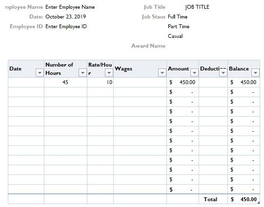 Payslip Format In Excel Free Download Templates Free Download