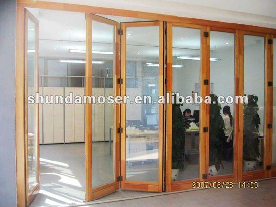 Moser plegadora de vidrio puerta corredera de madera - Puertas corredizas de vidrio ...