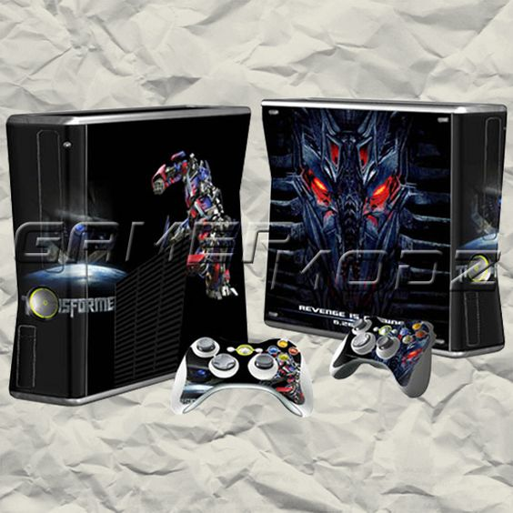 Transformers XBOX 360 Skin Set - Console with 2 Controllers BTW...for the best game cheats, tips,DL, check out: http://cheating-games.imobileappsys.com/