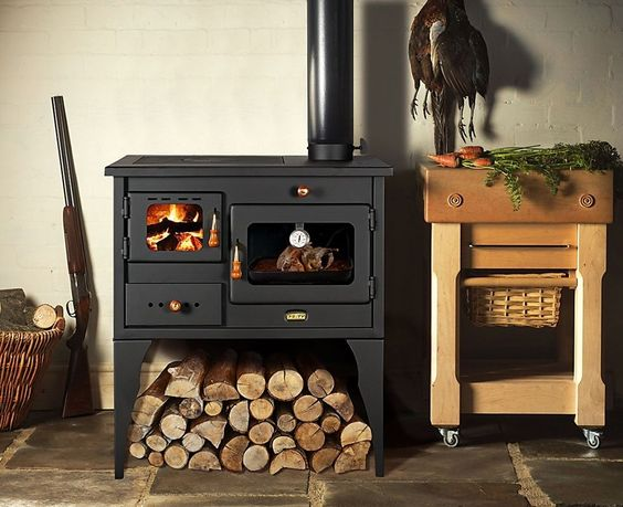 New 10 kW.Cooking Wood Burning Stove Legs Oven Cooker Multifuel Cast Iron Top | eBay
