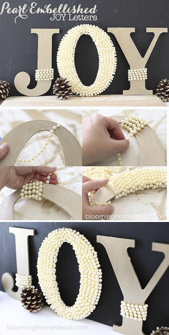 DIY Pearl Embellished JOY Letters tutorial | christmas |joy | DIY |tutorial |homedecor |christmas decor |holiday decor |holiday |JOY: