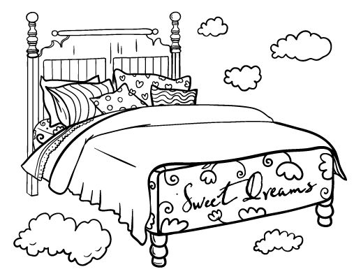 Coloring Image Of A Bed Printable Page Free PDF Download At