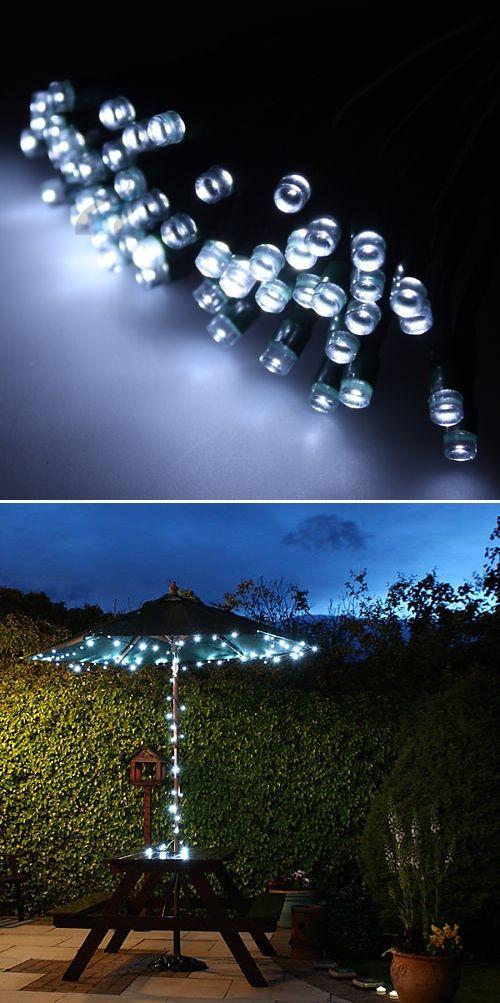 String Lights Under Umbrella : LED Solar String Lights Lighting, Decks and Tuin