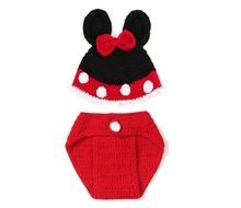 1 Set Unisex Baby Infant Crochet Mickey Mouse Crochet Baby Hat, Diaper Cover Photo Prop Cap Christmas Outfit Girls Boys(China (Mainland))