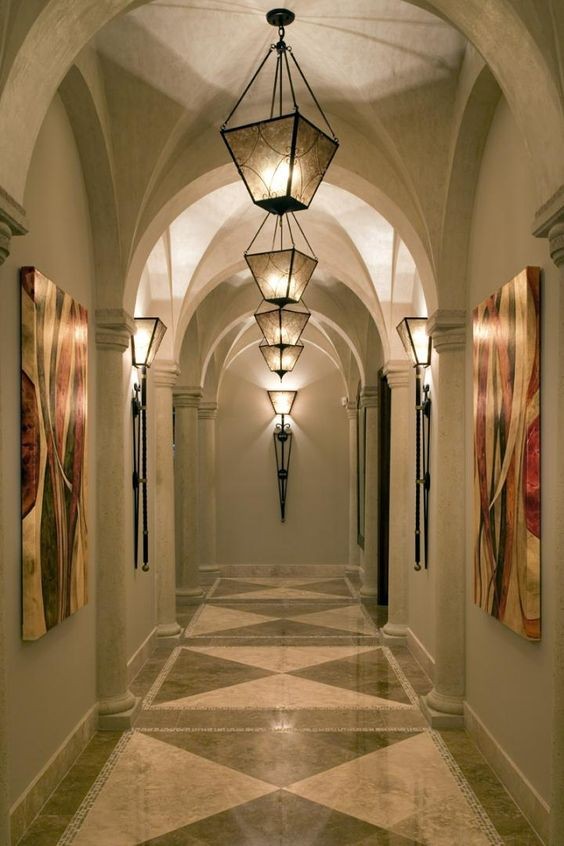 Beautiful hallway lighting luxurious dream homes for Beautiful foyer lighting
