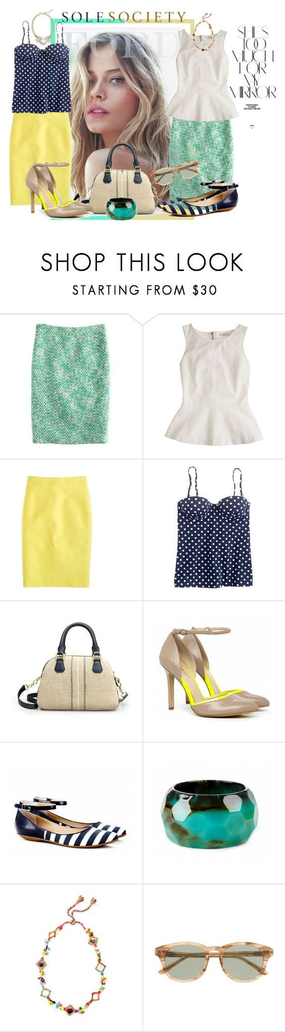 """Sole Society Meet J.CREW"" by fashiontake-out ❤ liked on Polyvore featuring Rika, J.Crew, Sole Society, pencil skirts, top handle bags, pointed-toe flats, platform sandals, j.crew and sole society"
