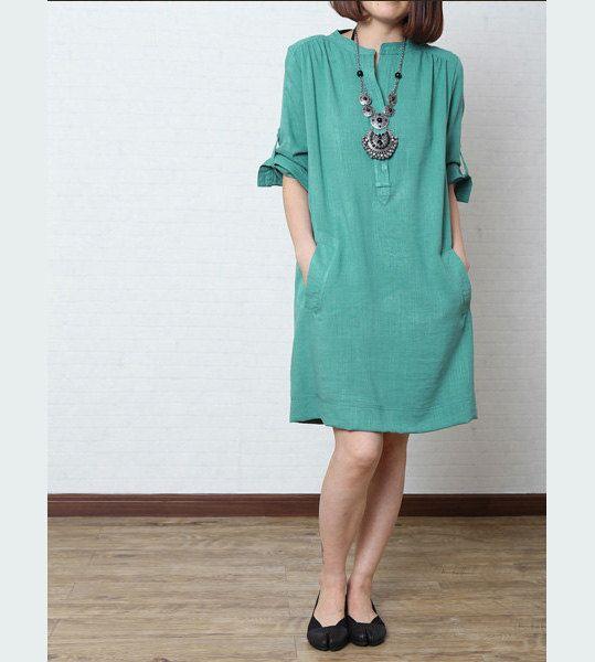 Turquoise Linen dresssummer dress Loose Fitting Long Maxi Dress ...