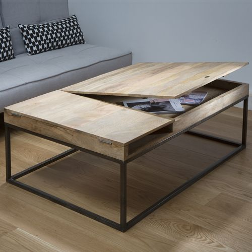 table basse decoclico achat table basse en bois et m tal double z ro guibox avec rangement et. Black Bedroom Furniture Sets. Home Design Ideas