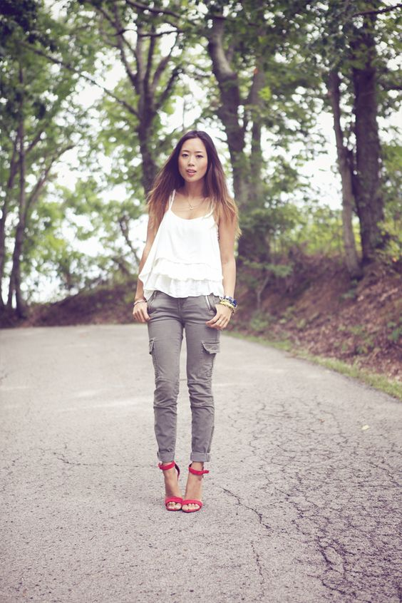 LOVE this look. Skinny cargo pants, white top, RED shoes! From ...