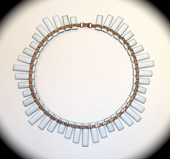 Renoir Matisse White Enamel Copper Necklace & Earring Set from bejewelled on Ruby Lane
