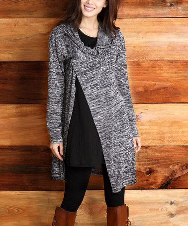 Look what I found on #zulily! Charcoal Melange Convertible Cowl-Neck Cardigan #zulilyfinds