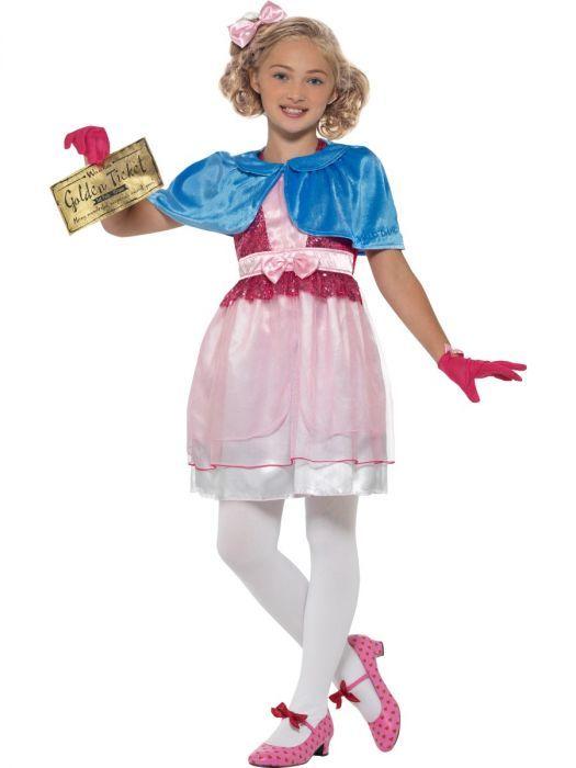 Kids Girls Official Roald Dahl Violet Beauregarde Fancy Dress Book Week Costume