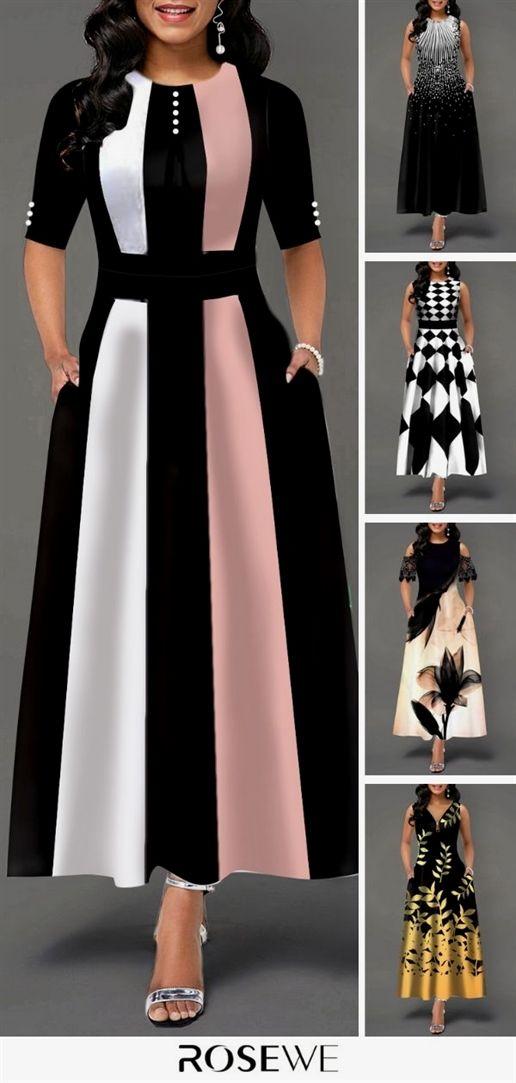 Hot Sale Color Block Button Detail High Waist Women S Fashion Dresses African Fashion Dresses Fashion Dresses Online