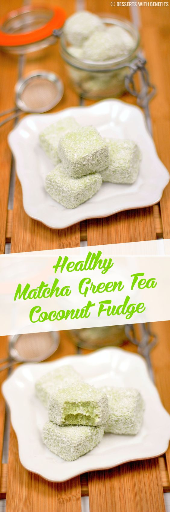 Guilt-Free Matcha Green Tea Coconut Fudge! Yup, you read that right... sweet, soft and decadent, yet sugar free, low carb, low fat, low calorie and high protein! If you're a tea-drinker and if you're a dessert lover (and oh gosh, please say yes, because I really hope you are), then this Healthy Matcha Green Tea Coconut Fudge is for you! It's super soft and fluffy and flavorful and sweet, but without the butter and sugar! @kitchendailypin #InTheRaw