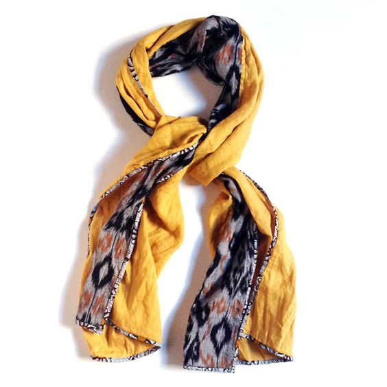 PATCH NYC - SCARVES - MUSTARD WITH BLACK/RUST IKAT CLASSIC {F909}