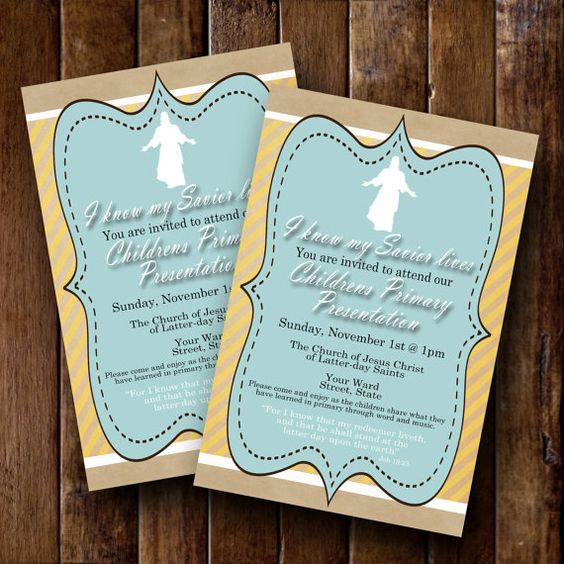 LDS  2015 Primary Program Invite I know my by bowpeepcreations LDS 2015 Primary Program Invite- I know my Savior lives- vintage style- Custom Invitation- 4x6