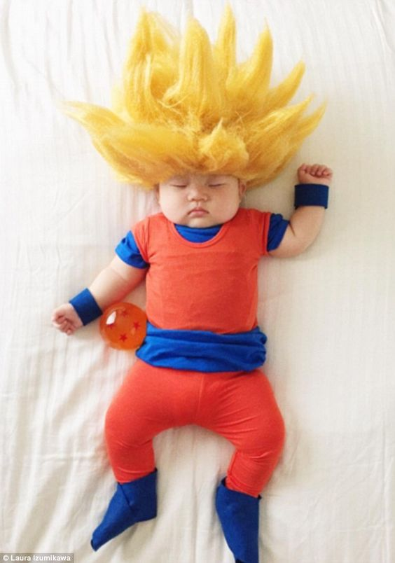 Blowing up: The amazing costumes, such as this Goku from Dragon Ball Z outfit…