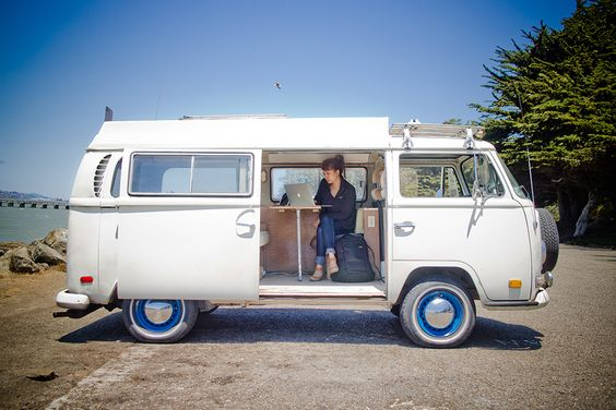Our VW bus is kind of like Mary Poppins' handbag or the Tardis—it's bigger on the inside than you think. A full day's work can be completed in just a few hours in our thinkmobile!