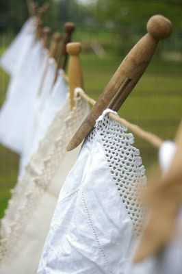 There was a time when the only way to dry clothes was to hang on the clothes line, spring, summer, fall and winter.  Love the old clothes pins, now hard to find