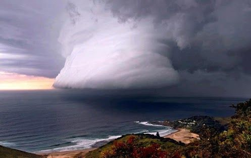 Hurricane bearing down on Dawn Beach near Sydney, Australia