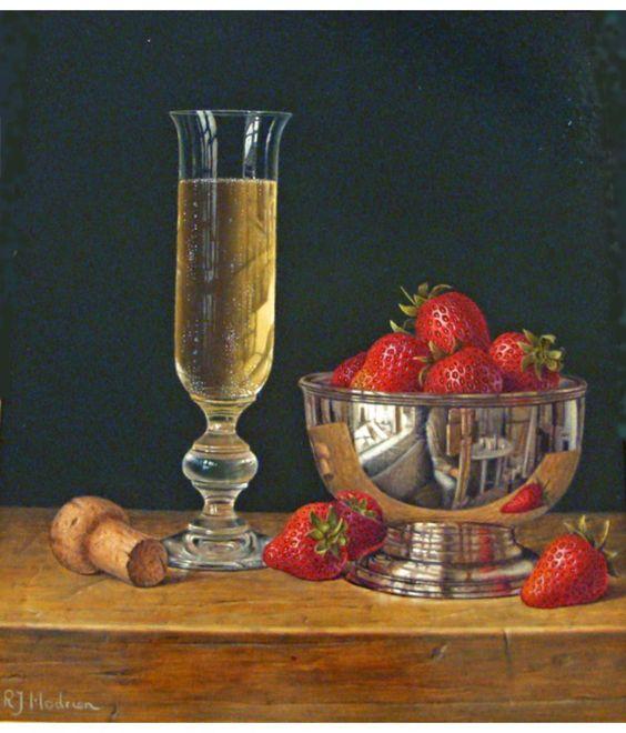 Fresas con copa de vino.
