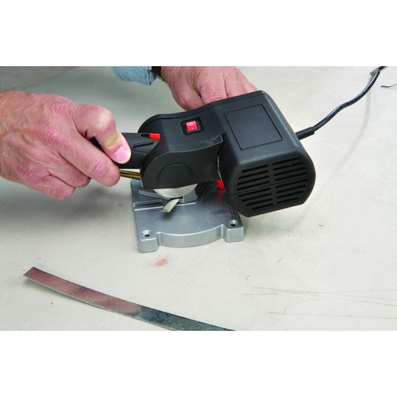 Chicago Electric Power Tools 42307 Bench Top Cut-Off Saw at Harbor Freight...cheap alternative for cutting zinc edge came