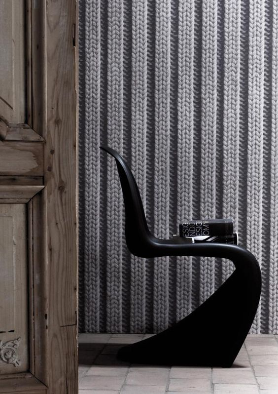 Breimotief behang van dutch wallpaper by dutch colour grijs grau grey anders style - Deco toilet grijs ...