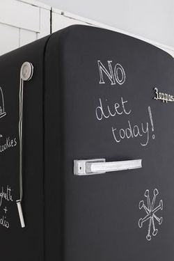 Chalkboard fridge - turn an old retro fridge into a chalkboard