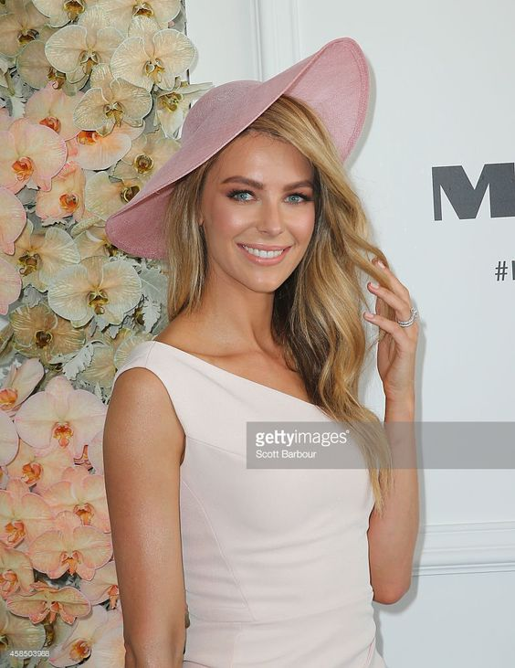 Jennifer Hawkins at the Myer Marquee on Oaks Day at Flemington Racecourse on November 6, 2014 in Melbourne, Australia.