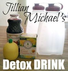 Jillian Michael's Detox and Cleanse Drink Ingredients *64 oz. purified water *1 bag Dandelion Root Tea *1 tablespoon pure Cranberry Juice *2 tablespoons Lemon Juice