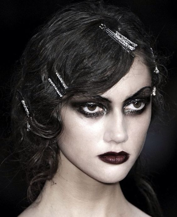 Gothic fashion runway model makeup ~ Classic smokey dark ...