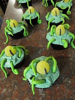 Sea Monster Cupcakes for Halloween