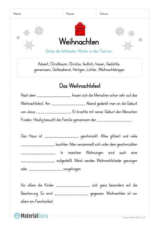 Arbeitsblatt Lückentext Zu Weihnachten Weihnachtsarbeitsblätter Lernen Tipps Schule Arbeitsblätter