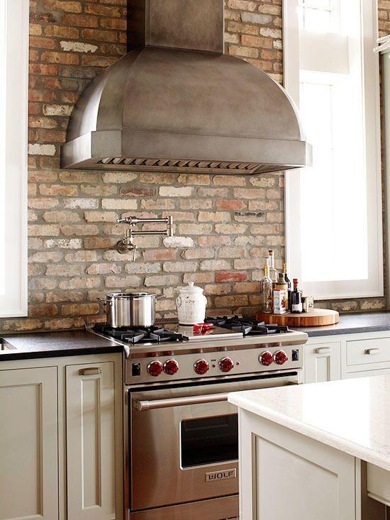 Fixer Upper Midcentury Asian Ranch Goes French Country Farmhouse Kitchen Backsplash Brick Kitchen Brick Backsplash Kitchen