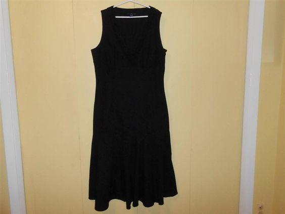 H&M Sleeveless Black Lace Dress Black Full Length Sz 16 VNeck Flaired Bottom #HM #Maxi #Casual